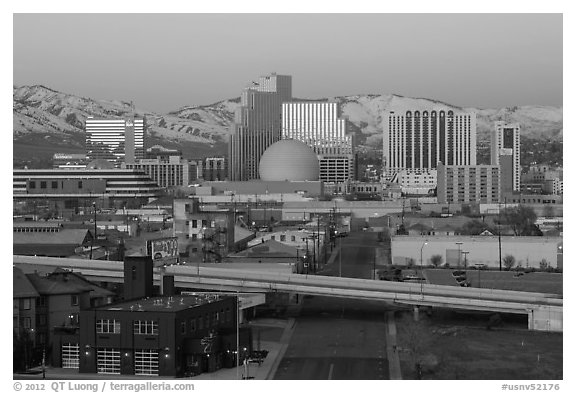 Winter dawn over downtown buildings. Reno, Nevada, USA (black and white)