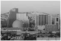 Reno skyline at sunrise in winter. Reno, Nevada, USA ( black and white)