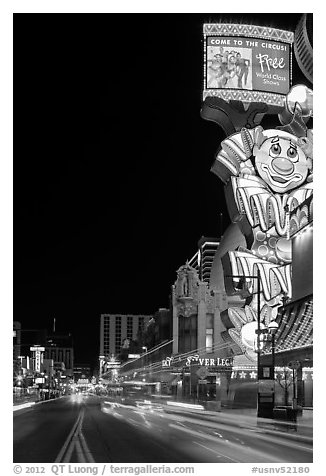 Giant neon sign on main street at night. Reno, Nevada, USA (black and white)