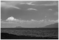 Windy afternoon on desert lake. Pyramid Lake, Nevada, USA ( black and white)