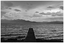 Deck, incoming storm. Pyramid Lake, Nevada, USA (black and white)