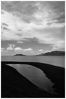 Crescent-shaped pool on lakeshore. Pyramid Lake, Nevada, USA ( black and white)