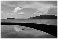 Reflection in pool. Pyramid Lake, Nevada, USA ( black and white)