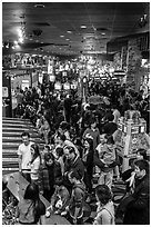 Crowds in Midway of Fun, Circus Circus. Reno, Nevada, USA (black and white)