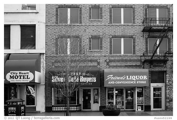 Downtown facade and businesses. Reno, Nevada, USA (black and white)