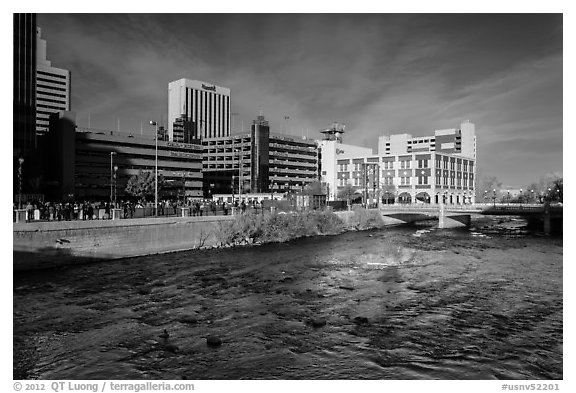 Truckee river and downtown buildings. Reno, Nevada, USA (black and white)