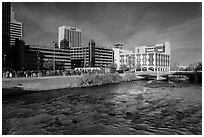 Truckee river and downtown buildings. Reno, Nevada, USA ( black and white)