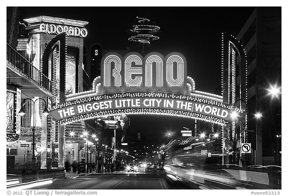 Virginia Street and Reno Arch with lights. Reno, Nevada, USA (black and white)