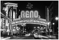 Virginia Street and Reno Arch with lights. Reno, Nevada, USA ( black and white)