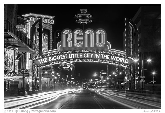 Reno Arch at night with light trails. Reno, Nevada, USA (black and white)