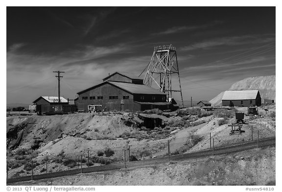 Historic mine. Nevada, USA (black and white)