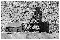 Mine and hillside. Nevada, USA (black and white)