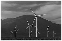 Electricity-generating windmills. Nevada, USA (black and white)