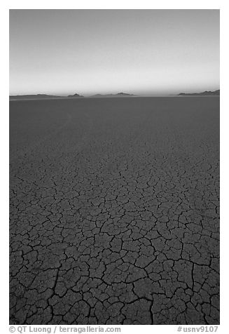 Dried mud lakebed, dawn, Black Rock Desert. Nevada, USA