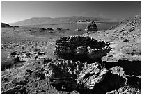 Tufa formations. Pyramid Lake, Nevada, USA (black and white)