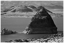 Pyramid. Pyramid Lake, Nevada, USA ( black and white)