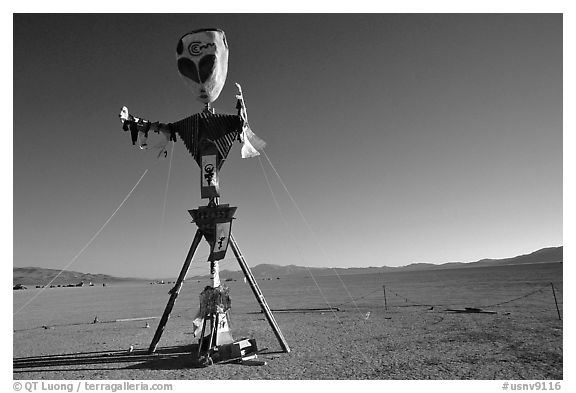 Whimsy sculpture, Black Rock Desert. Nevada, USA (black and white)