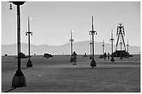 Art installations in the desert, Black Rock Desert. Nevada, USA (black and white)