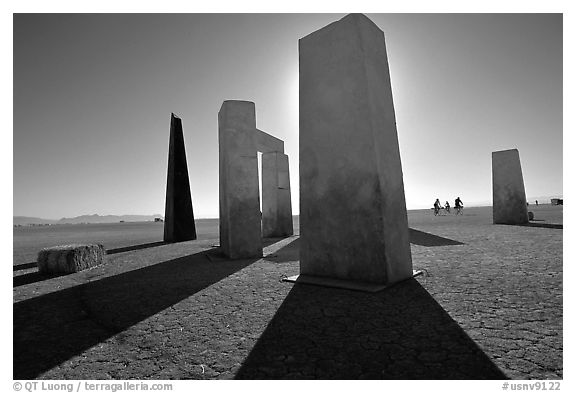 Art installations on the playa, Black Rock Desert. Nevada, USA (black and white)
