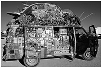 Decorated WV bus, Black Rock Desert. Nevada, USA (black and white)