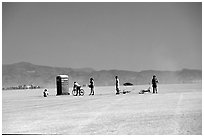 Line at the toilet, Black Rock Desert. Nevada, USA ( black and white)