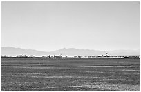 Black Rock City, a temporary community, Black Rock Desert. Nevada, USA (black and white)