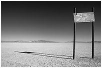 Sign in the middle of nowhere, Black Rock Desert. Nevada, USA ( black and white)