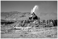 Fly Geyser, Black Rock Desert. Nevada, USA ( black and white)