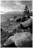 Rocks on the North-East shore of Lake Tahoe, Nevada. USA (black and white)