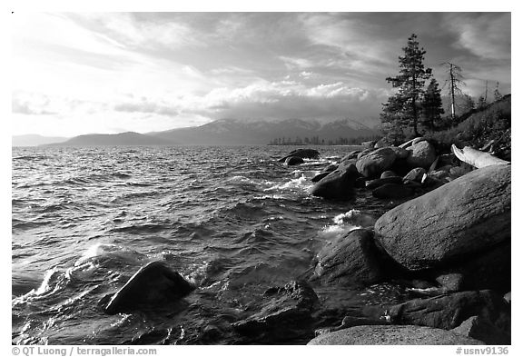 Rocky shore, Lake Tahoe, Nevada. USA (black and white)