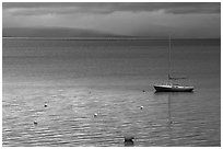 Boat, dusk, South Lake Tahoe, California. USA (black and white)