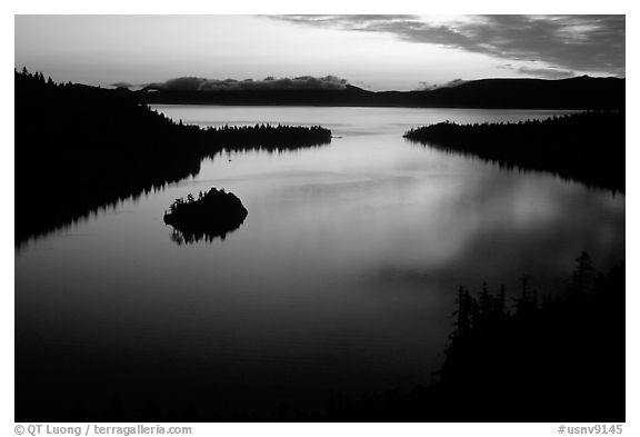 Emerald Bay, dawn, South Lake Tahoe, California. USA (black and white)