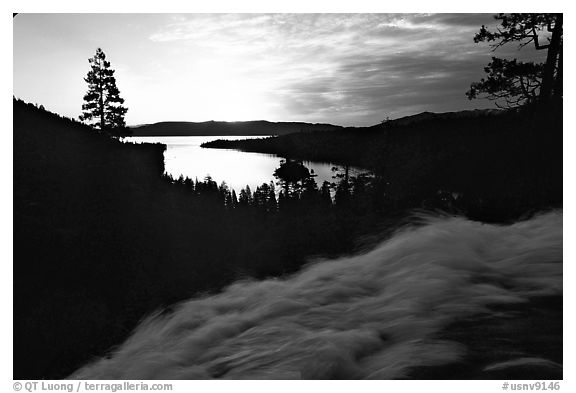Water rushing down Eagle Falls, sunrise, Emerald Bay, California. USA (black and white)