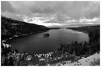 Emerald Bay in winter, Lake Tahoe, California. USA (black and white)