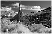 Church and town, Austin. Nevada, USA ( black and white)