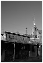 Golden Club and church, sunset, Austin. Nevada, USA ( black and white)