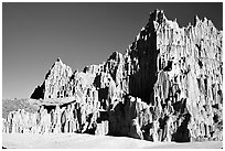 Eroded clay formations, Cathedral Gorge State Park. Nevada, USA (black and white)