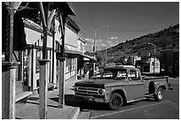 Red truck, main street, Pioche. Nevada, USA (black and white)