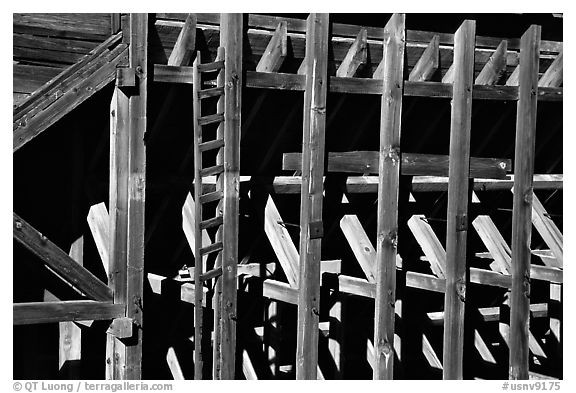 Old mining machinery,  Pioche. Nevada, USA (black and white)