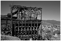 Old mining apparatus,  Pioche. Nevada, USA (black and white)