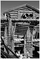 Cabin with old mining equipment, Pioche. Nevada, USA ( black and white)