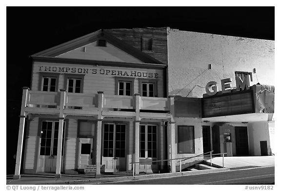 Opera house by night, Pioche. Nevada, USA (black and white)