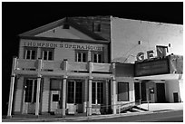 Opera house by night, Pioche. Nevada, USA ( black and white)