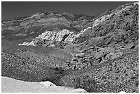 Red sandstone formations, and green hills, Red Rock Canyon. Red Rock Canyon, Nevada, USA ( black and white)