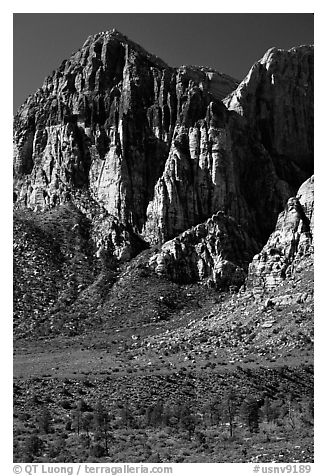 Tall cliffs. Red Rock Canyon, Nevada, USA (black and white)
