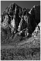 Tall cliffs. Red Rock Canyon, Nevada, USA ( black and white)