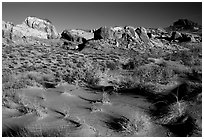 Sand ripples and rock formations, Valley of Fire State Park. Nevada, USA ( black and white)
