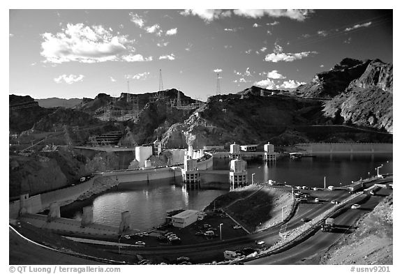 Reservoir and dam. Hoover Dam, Nevada and Arizona (black and white)