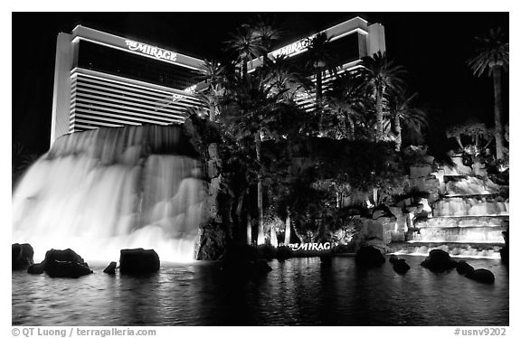 Mirage casino by night. Las Vegas, Nevada, USA