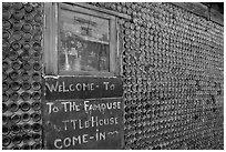 Window and wall,  bottle house, Rhyolite ghost town. Nevada, USA (black and white)